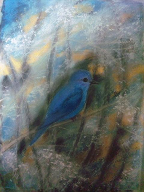 幸せの青い鳥in冬の絵ができました☆